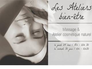 """Prochain Atelier """"cosmétiques naturels et massages"""" samedi 30 juin à Aubière"""