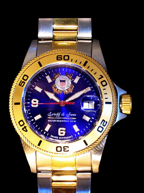 US Coast Guard 2-Tone Swiss Movement Dive Watch