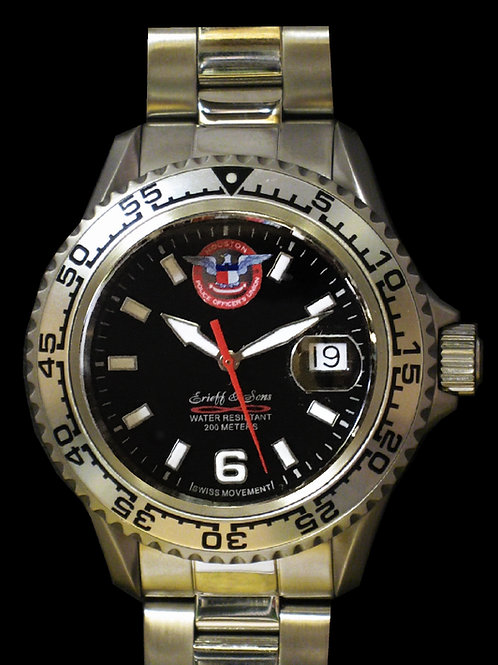 Houston Police Officers Union Man's Swiss Movement Dive Watch