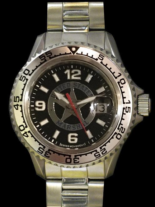 USMS Black/Silver Swiss Movement Dive Watch
