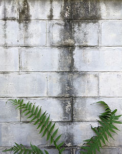 Water stain on white concrete brick wall