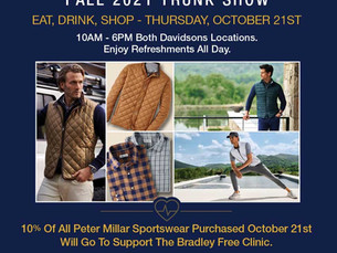 Peter Millar Trunk Show and Your Opportunity to Support the Bradley Free Clinic
