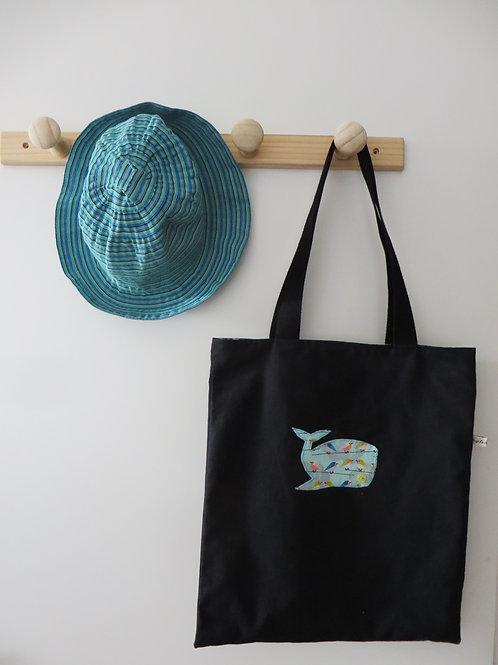 Tote bag réversible noir baleine oiseaux