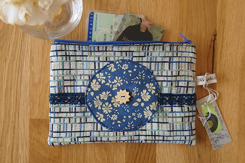 Pochette quadrillée bleu