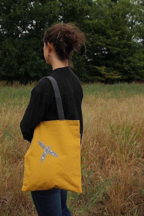 Tote bag réversible moutarde libellule fleurettes