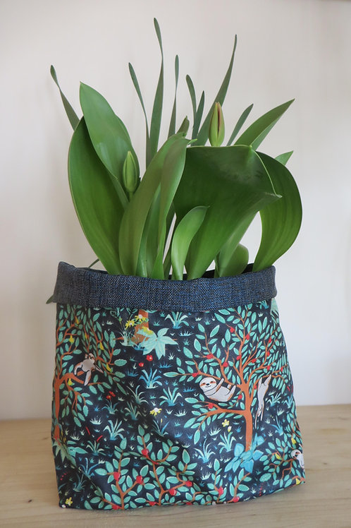 Cache-pot toile enduite jungle