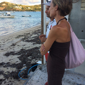 Man on a mission at Pointe Milou   St Barth