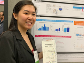 Lani Tieu and Jennifer Ren present their research at the UC San Diego Student Research Showcase