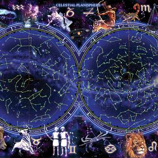 Celestial Planasphere Zodiac