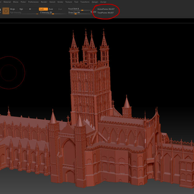 zbrush point count