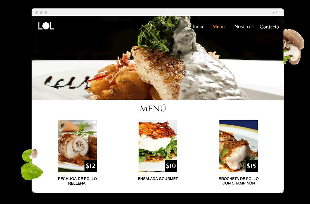 pagina web con menu de restaurant