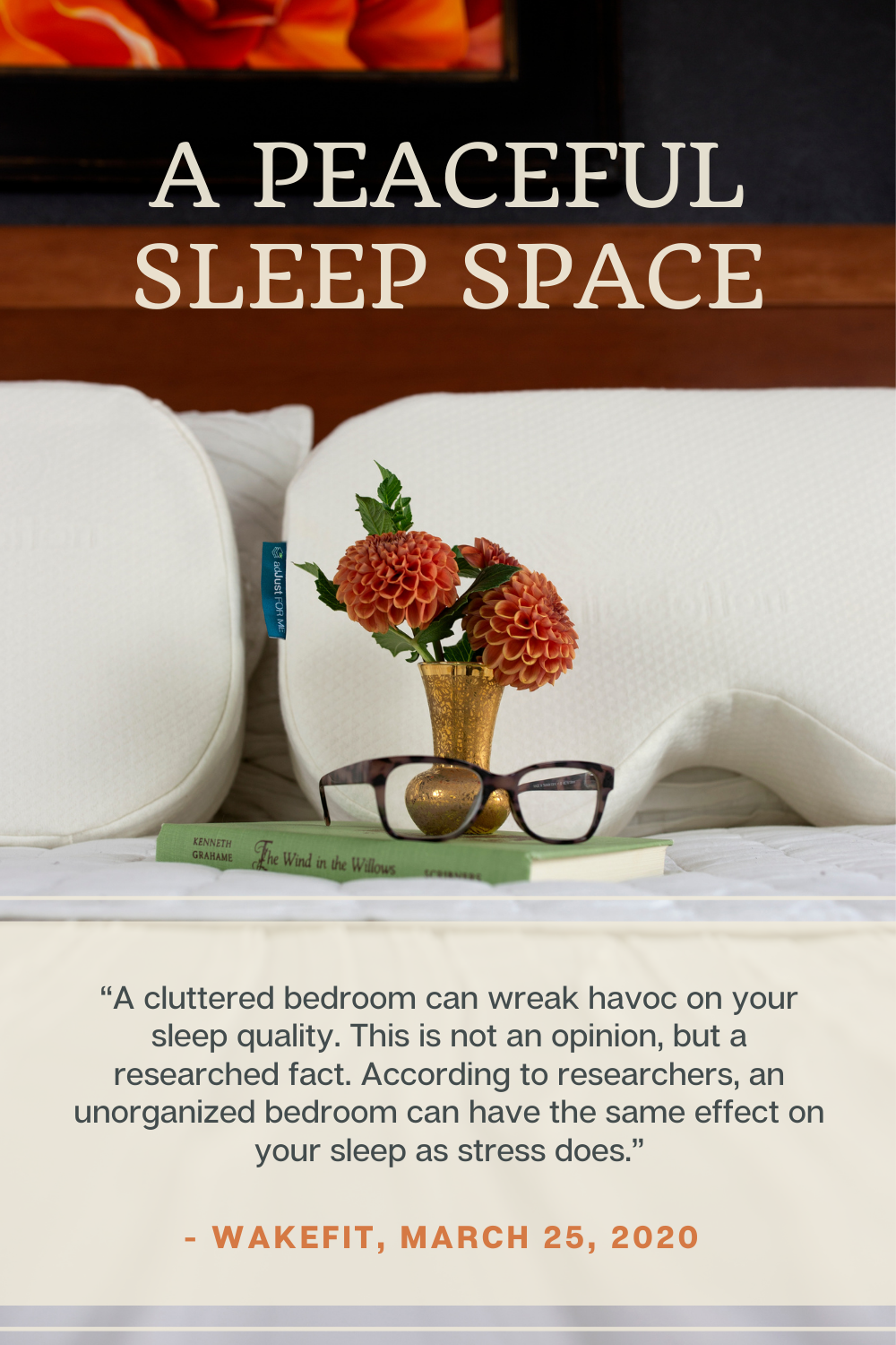 Peaceful bed and bedroom with the adJust FOR ME Pillow