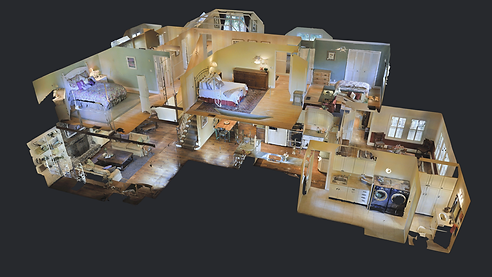 Dollhouse view of 3D staged home