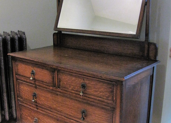 Antique Oak Chest of Drawers with Adjustable Mirror