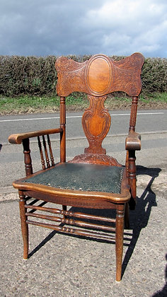Stunning Art Nouveau Carved Back Chair