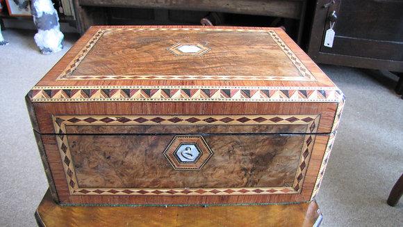 VICTORIAN WALNUT JEWELLERY OR SEWING BOX.
