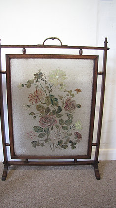 Arts & Crafts Painted Glass Fire Screen