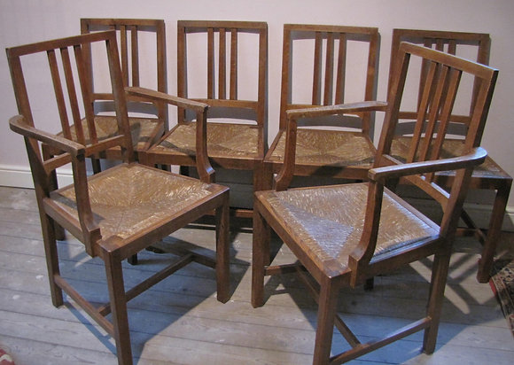 Set Of 6 Heals Oak Dining Chairs C 1930