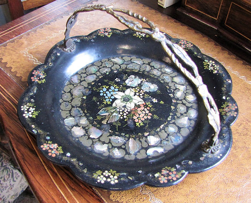 Victorian Mother-of-Pearl and Papier Mache Cake Basket