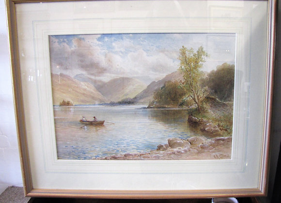 Edith A Stock Watercolour of a loch or lake.