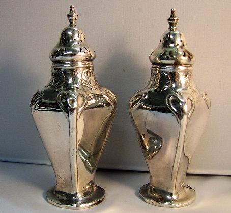 Pair of antique Art Nouveau silver peppers 1907