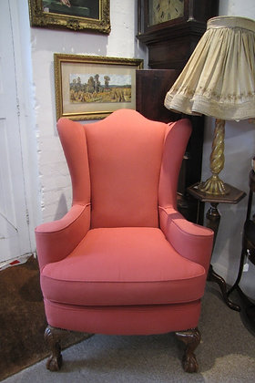 VICTORIAN UPHOLSTERED WING BACK ARMCHAIR
