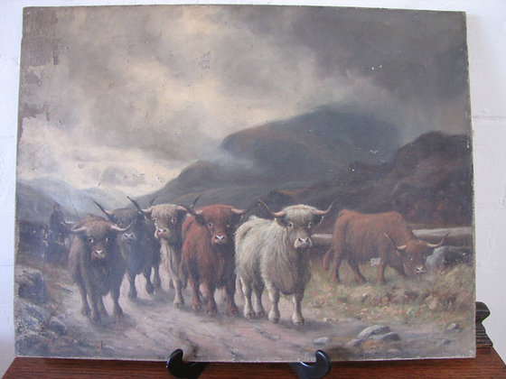TOMSON LAING OIL ON CANVAS HIGHLAND CATTLE