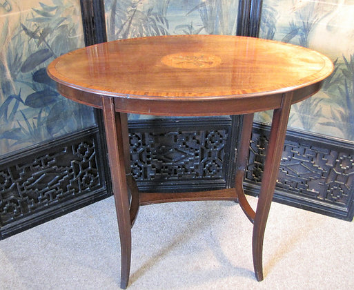 Edwardian Inlaid Mahogany Oval Centre Table