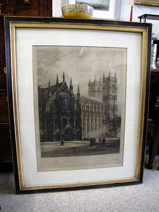 1884 ETCHING OF WESTMINSTER ABBEY BY A.A. DELAUNEY