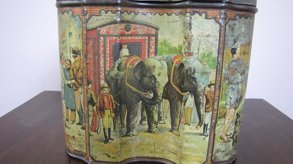 HUNTLEY & PALMERS CIRCUS BISCUIT TIN, 1890'S