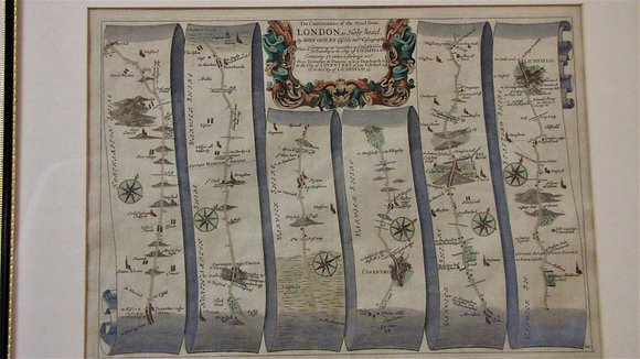 Antique Map London to Holyhead. John Ogilby.