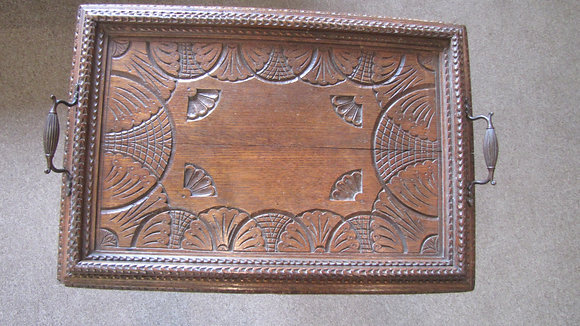 SOLID CHIP CARVED OAK SERVING TRAY