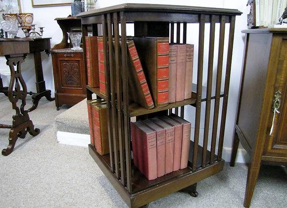 EDWARDIAN MAHOGANY REVOLVING BOOKCASE.  SOLD