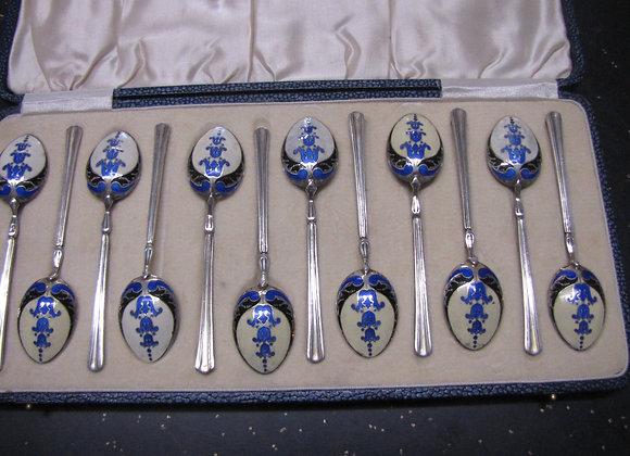 BOXED SET OF 12 SILVER & ENAMEL TEA SPOONS