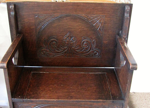 Small Antique Carved Oak Monks Bench