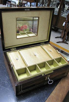 BEAUTIFUL INLAID JEWELLERY BOX WITH MIRROR. C1875