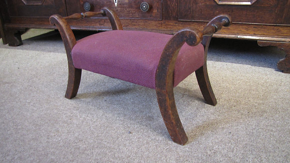 Small Antique Oak Footstool With Turned Handles