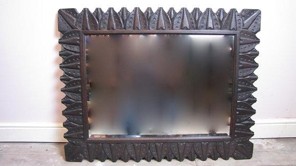Large Arts & Crafts carved oak framed mirror