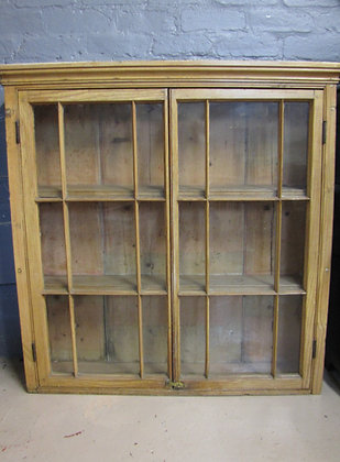 VICTORIAN PINE GLAZED WALL CUPBOARD