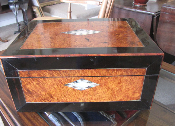VICTORIAN BURR WALNUT JEWELLERY OR SEWING BOX
