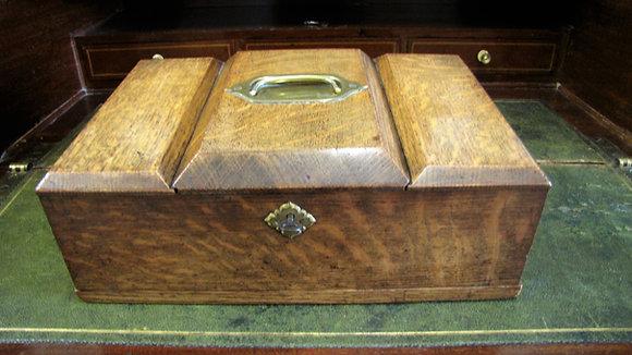 19th Century Antique Oak Humidor Cigar Box.