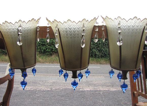 set of three Art Deco wall lights