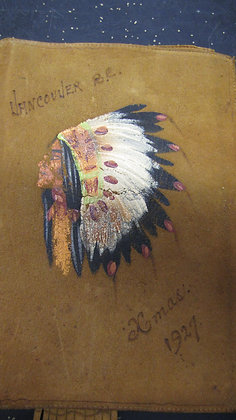 Leather hand painted book cover. Vancouver 1927
