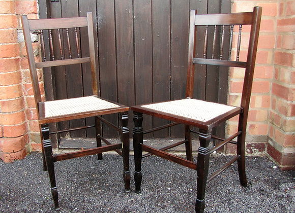 QUALITY PAIR OF CANE SEATED BEDROOM/ SIDE CHAIRS