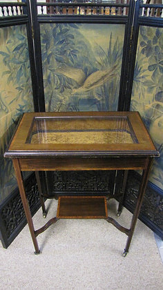 A mahogany inlaid Edwardian bijouterie or display table