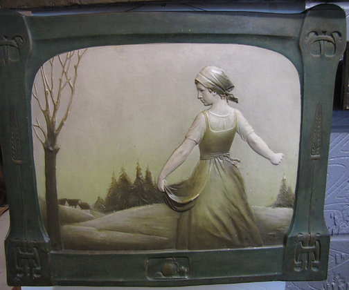 ART NOUVEAU FRENCH CERAMIC WALL PLAQUE