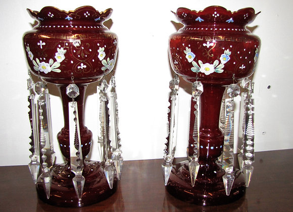 PAIR OF ANTIQUE ENGLISH VICTORIAN RUBY GLASS LUSTRES