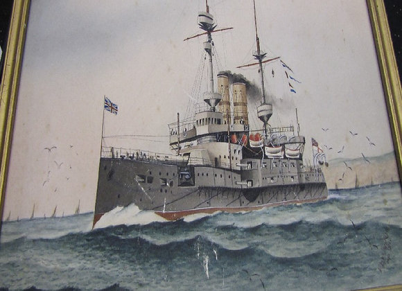 1910 Watercolour Of HMS Bulwark by Rhys Jenkins