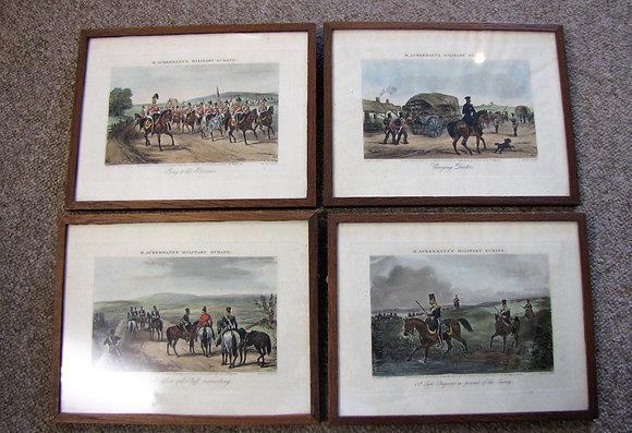 Set Of Four Prints 'R. Ackermann's Military Scraps'