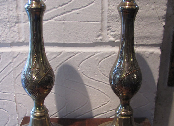 Pair of early 20th C. Indian brass candlesticks.